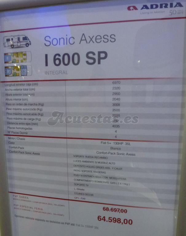 Adria Sonic Axess I 600 SP