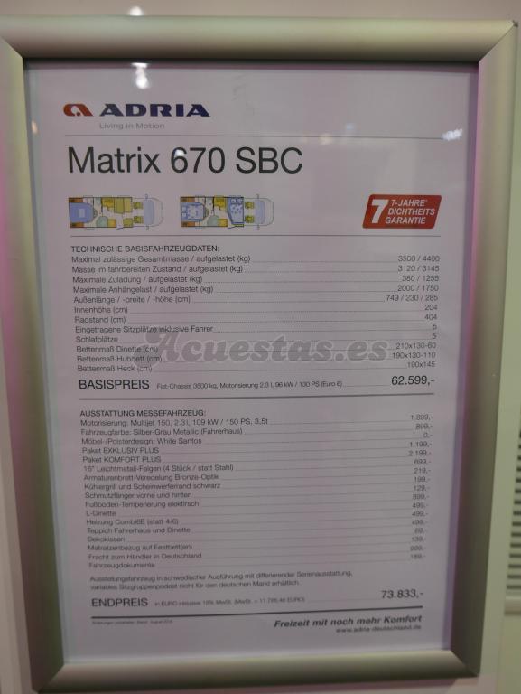 Adria Matrix 670 SBC